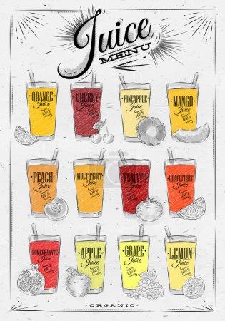 Illustration pour Menu de jus d'affiche avec des verres de jus différents dessin sur fond de papier sale - image libre de droit