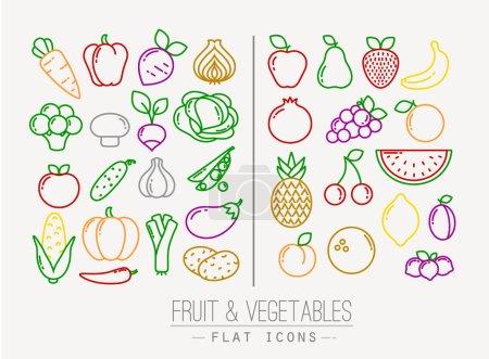 Illustration pour Ensemble d'icônes plates de fruits et légumes dessin avec des lignes de couleur sur fond blanc - image libre de droit