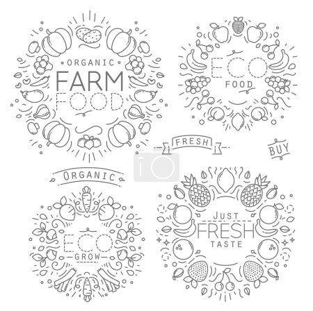 Illustration pour Ensemble de monogrammes plats de fruits et légumes avec lignes noires sur fond blanc - image libre de droit