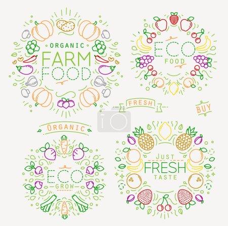 Illustration pour Jeu de monogrammes plats de fruits et légumes avec lignes de couleur sur fond blanc - image libre de droit