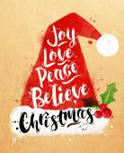 Watercolor poster Christmas Santa hat lettering joy love peace believe Christmas drawing in vintage style on kraft paper