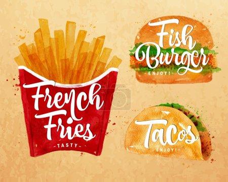 Illustration pour Ensemble de frites, hamburger de poisson et tacos dessin avec peinture de couleur sur fond kraft . - image libre de droit