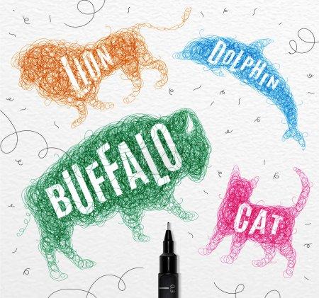 Tangled line buffalo color
