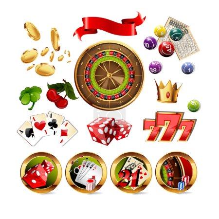 Illustration pour Grand ensemble d'éléments et d'icônes de jeu de casino, y compris la roue de roulette, les cartes à jouer, les dés, les balles de bingo et les cartes. Illustration vectorielle . - image libre de droit