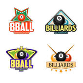 Billiards, pool and snooker icons