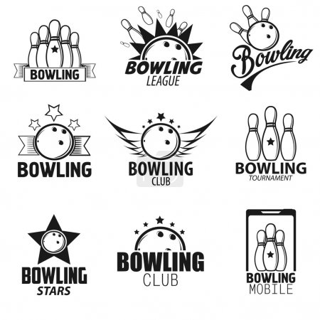 Bowling labels Icons Set