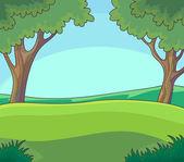 """Постер, картина, фотообои """"зеленый пейзаж с деревьями"""""""