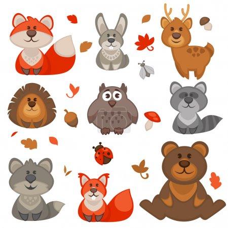 Photo pour Ensemble d'animaux de la forêt de dessin animé mignon. Illustration vectorielle . - image libre de droit
