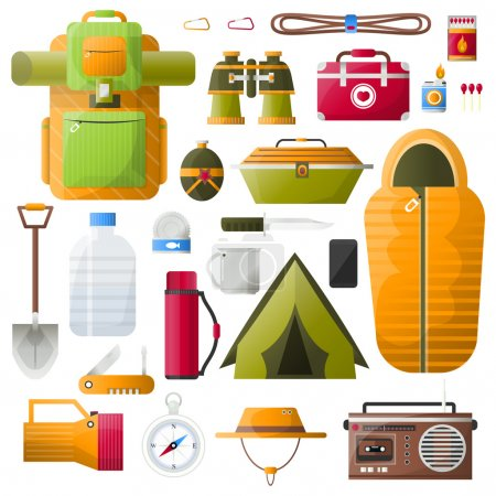 Illustration for Kit items for survival, exploration tourism and camping. Icons: emergency box and water, sleeping bag and radio, tent and backpack. Vector illustrations on white background - Royalty Free Image