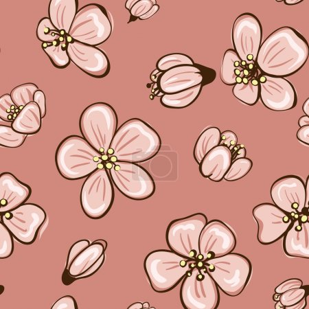 Decorative floral boho seamless pattern