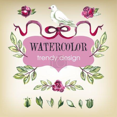 Watercolor Floral Set of Design Elements