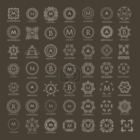 Illustration for Big bunch of luxury, simple and elegant monogram design templates. Good for labels and logos. Vector illustration. Line style - Royalty Free Image
