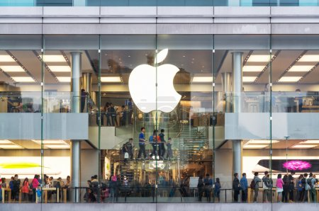 Photo for Hong Kong, Hong Kong SAR -November 08, 2014:A busy Apple Store in Hong Kong located inside IFC shopping mall, Hong Kong. - Royalty Free Image