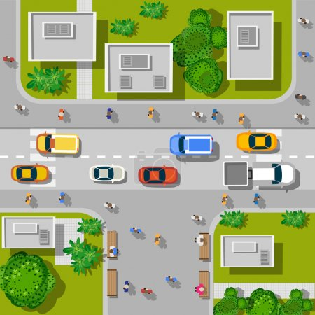 Illustration for Top view of the city. Top view of urban crossroads with cars and houses - Royalty Free Image