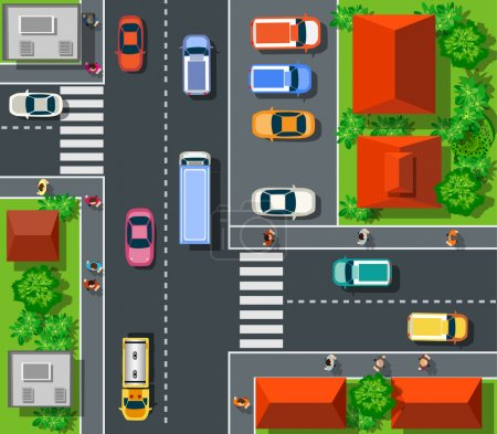 Illustration for Top view of the city. Top view of urban crossroads with cars and houses. - Royalty Free Image