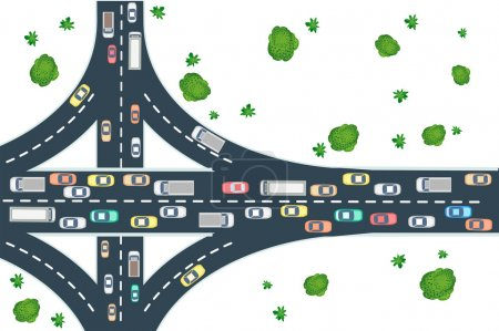 Illustration for Highway road top view from above with cars, buses and trucks - Royalty Free Image