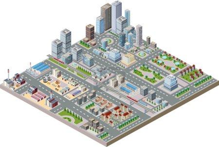 Illustration pour Centre-ville isométrique vectoriel sur la carte avec beaucoup de bâtiments, gratte-ciel, usines et parcs - image libre de droit