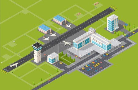 Illustration for Airport terminal for arrival and departure of aircraft and passengers traveling - Royalty Free Image