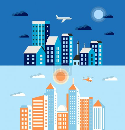 Illustration for Flat colored building urban style   in blue and blue colors with transport and trees - Royalty Free Image