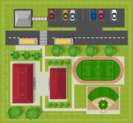 Illustration for Top view of the city from the school buildings, a football field and baseball diamond - Royalty Free Image