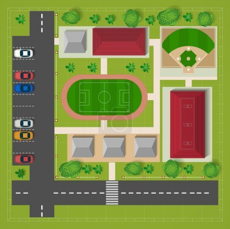 Illustration for Car parking football stadium top view with cars and trees - Royalty Free Image