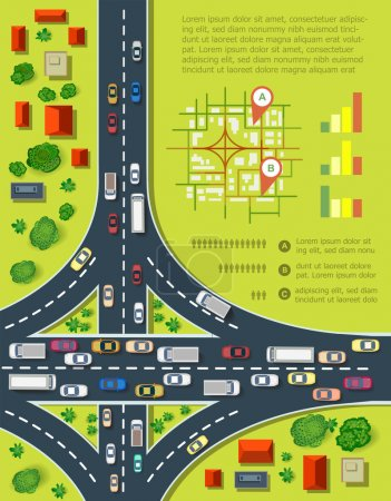 Photo for Road infographics with highways with lots of cars. Map of traffic congestion and urban transport. Top view of the city with houses and highways - Royalty Free Image