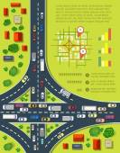Road infographics with highways with lots of cars Map of traffic congestion and urban transport Top view of the city with houses and highways