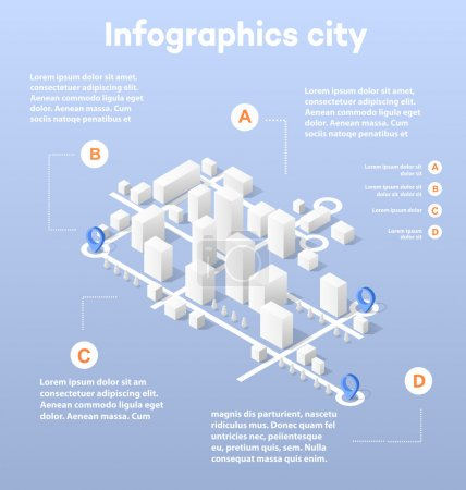 Illustration for City isometric map, consisting of city skyscrapers block pointer and driving directions - Royalty Free Image