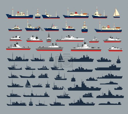 Illustration for Set of silhouettes of ships, consisting of numerous warships, naval vessels, yachts and cruise ships, ships and pleasure boats for a cruise. - Royalty Free Image
