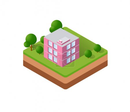 Isometric houses, town