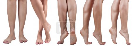 Women bare legs in different poses to the knee