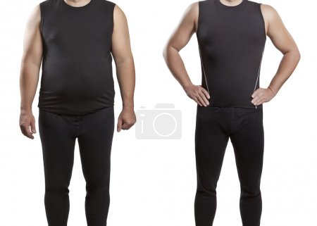 Male before and after. Weight loss.