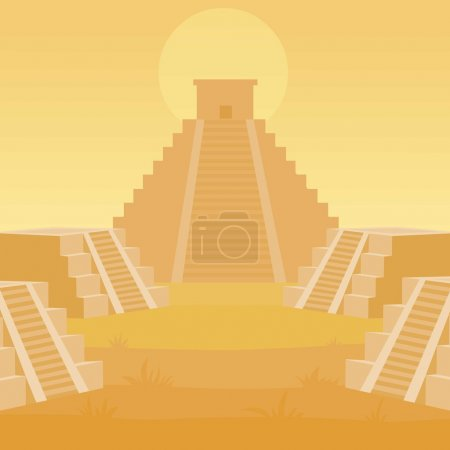 Animation landscape of a pyramid Maya.