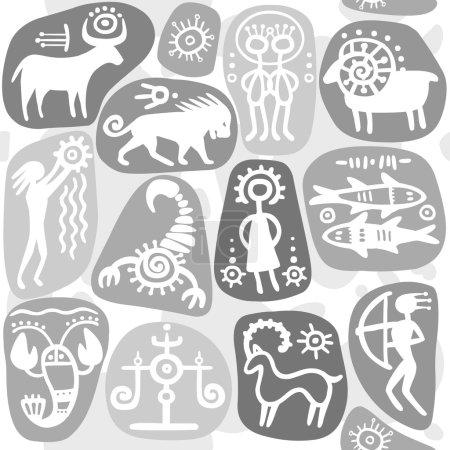 Illustration for Monochrome seamless background: zodiac signs. Horoscope. Ethnic style. - Royalty Free Image