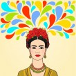 Mexican woman: imagination. Isolated on a beige background.