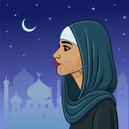 Beautiful Muslim woman in a shawl on a the night city background. Profile view.