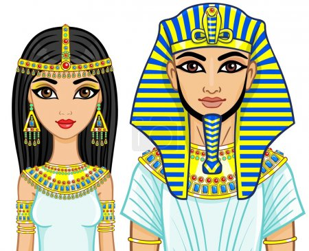 Animation portrait of a family of the Egyptian kings. Isolated on a white background.