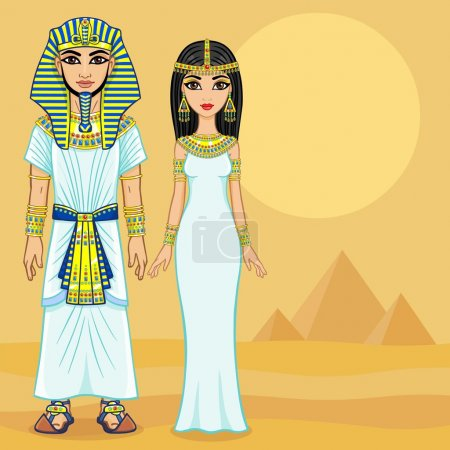 Animation Egyptian family in ancient clothes. Full...