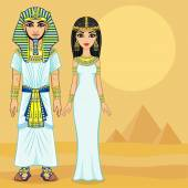 Animation Egyptian family in ancient clothes Full growth Background - the desert and pyramids