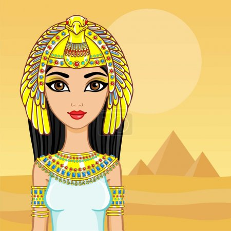 Animation portrait of the Egyptian queen. A backgr...