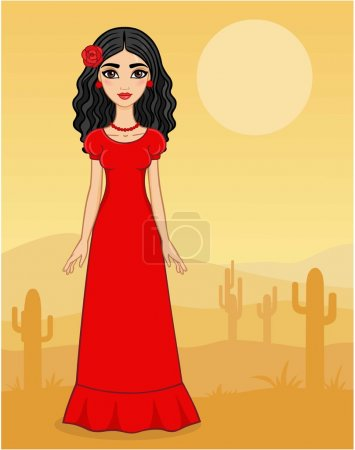 Animation Mexican girl on a desert background with cactuses.