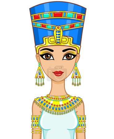 Portrait of the animation Egyptian princess in gol...