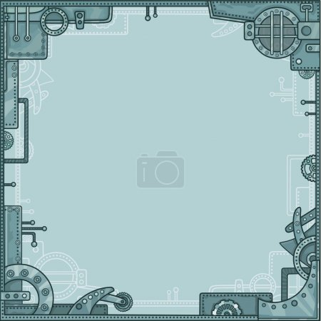 Frame from metal details, the iron mechanism, style Steampunk. The place for the text. Vector illustration.