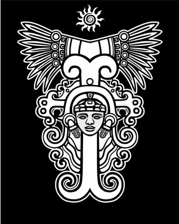Linear drawing: decorative image of an ancient Indian deity. The white isolated silhouette on a black background.
