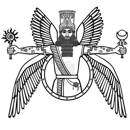 Illustration pour Ancienne divinité assyrienne ailée. Caractère de la mythologie sumérienne. Le dessin linéaire noir et blanc isolé sur fond blanc. Illustration vectorielle . - image libre de droit