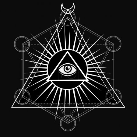 Eye of Providence. All seeing eye inside triangle pyramid. Esoteric symbol, sacred geometry. Monochrome drawing isolated on a black background. Vector illustration. Print, posters, t-shirt, textiles.