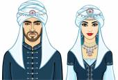 Portrait of an animation Arab family in ancient clothes The vector illustration isolated on a white background