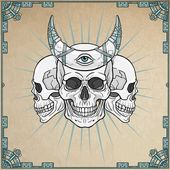 Three human skulls - the shamans magic horn Eye of Providence Background - imitation of old paper a decorative frame Vector illustration