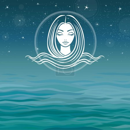 Stylized girl's face with long hair on a sea backg...