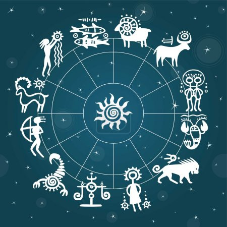 Illustration for Horoscope circle against the stellar sky. Zodiac signs. Simulation of rock paintings. - Royalty Free Image